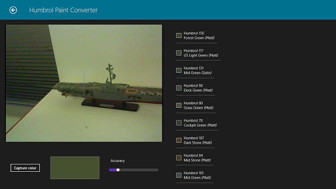 Windows 8 screenshot of the camera capture page